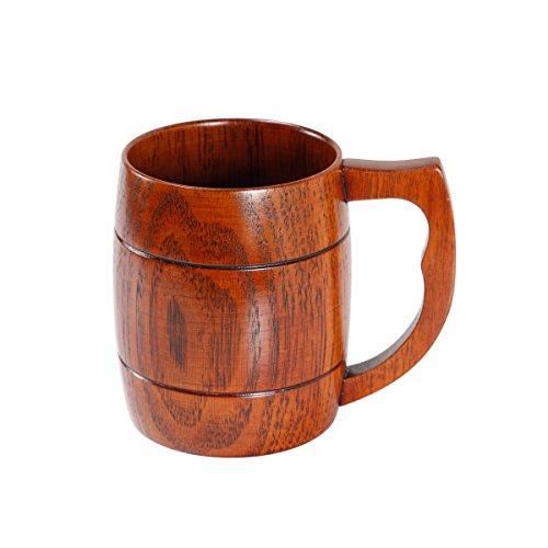 Geeklife Camphorwood Beer Mug Handmade Wood Beer Cup with Handle Brown 500ml Camphorwood