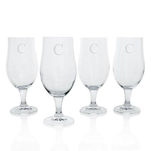 Cathys Concepts Personalized Elegant Pilsner Glasses Set of 4 Letter C