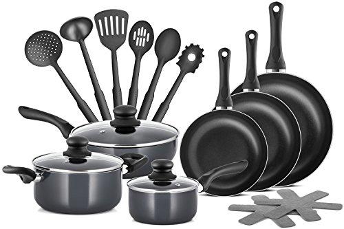 Chefs Star Professional Grade Aluminum 15 Piece Non-stick Pots Pans Set - Induction Ready Cookware Set