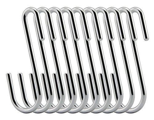 RuiLing Chrome Finish Steel S hook Cookware Universal Pot Rack Hooks Sturdy Hanging Hooks - Multiple uses for Kitchenware  Pots  Utensils  Plants  Towels - Set of 10