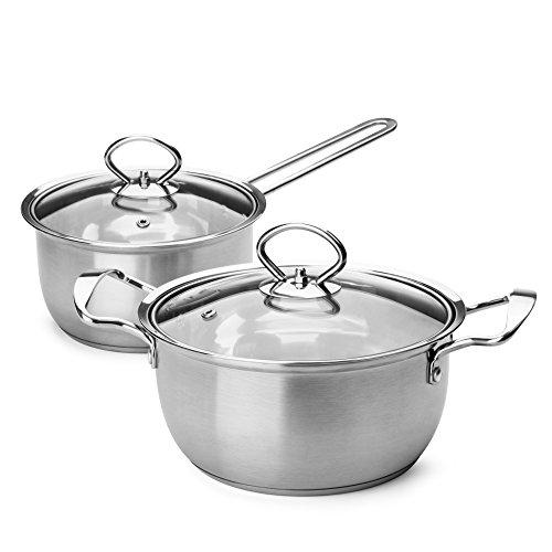 Small Stainless Steel Pot Set - Hestia Tri Ply Stainless Steel Cookware Set 4 Piece 2 Qt Stock Pot  15 Qt Saucepan