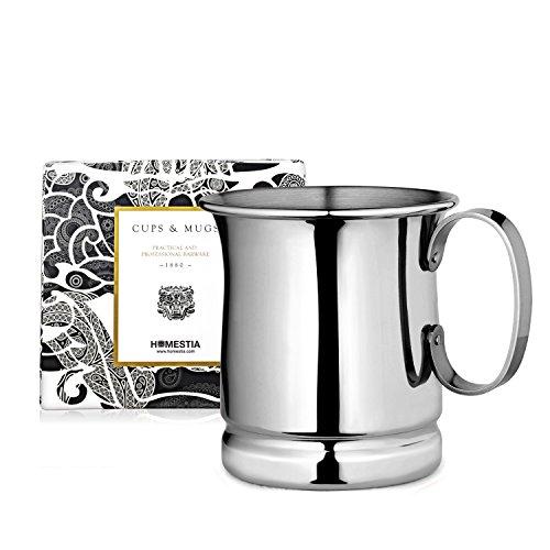Homestia Handmade Tankard Beer Mug Stainless Steel Cocktail Beer Drinking Mug Beverage Stein 1285oz Pack of 1 Silver