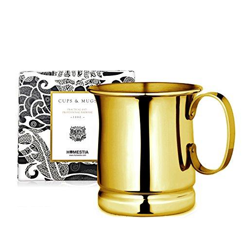Homestia Handmade Tankard Beer Mug Stainless Steel Cocktail Beer Drinking Mug Beverage Stein 1285oz Pack of 4 Gold