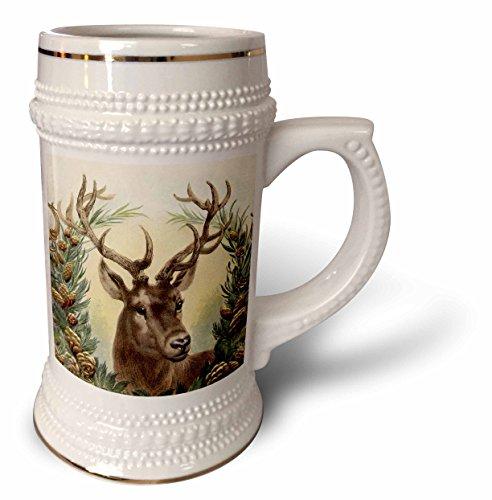 3dRose Andrea Haase Christmas Vintage - Vintage reindeer Christmas illustration - 22oz Stein Mug stn_262948_1