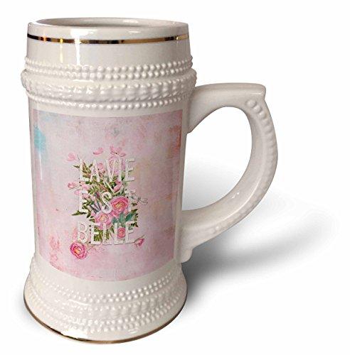 3dRose Uta Naumann Typography Watercolor - Typography floral watercolor pink Vintage Shabby-chic - 22oz Stein Mug stn_252345_1