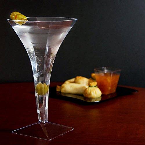 12 Count Clear Plastic 8 oz Martini Glass 1209 w Signature Party Picks