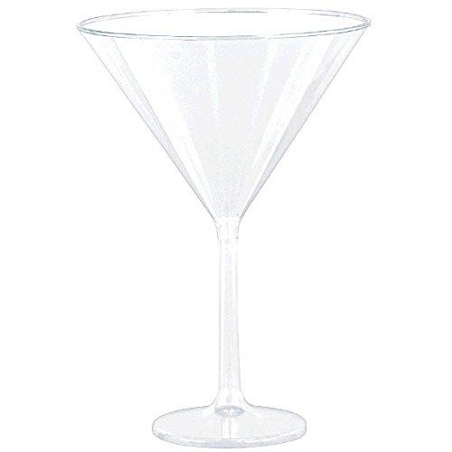 Large Clear Plastic Martini Glasses - 6 Martini Glasses