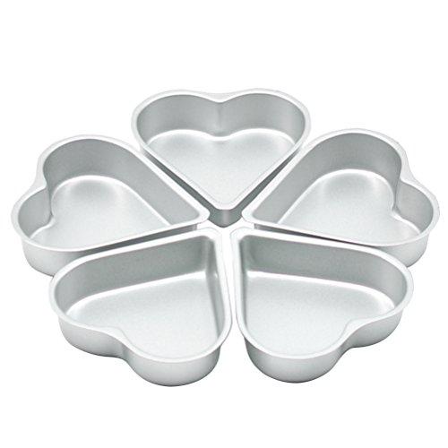 OUNONA 5pcs Heart Cake Pan - Non-Stick Tin Muffin Chocolate Mold Baking MoldAluminium
