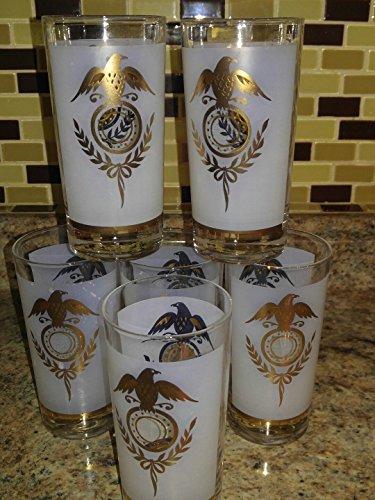 SET OF 6 VINTAGE GLASSES FROSTED WHITE GOLD EAGLE HOLDER BARWARE HIGHBALL TUMBLER