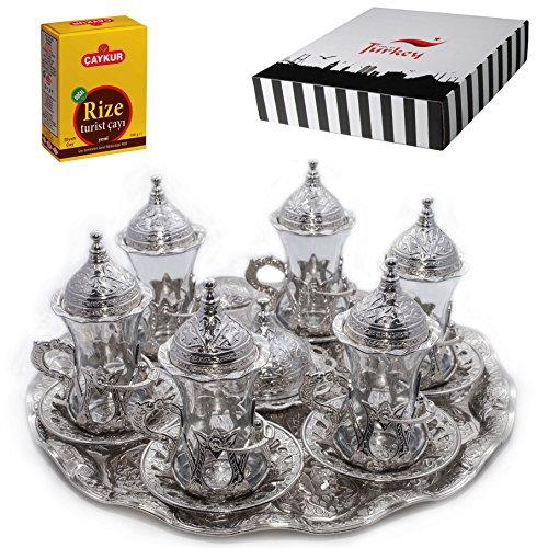 SET of 6 Turkish Tea Glasses Set Saucers Holders Spoons Decorated Silver Halkali