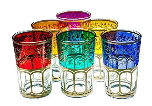 Moroccan Meknes Tea Glasses Set of 6 Multi Color
