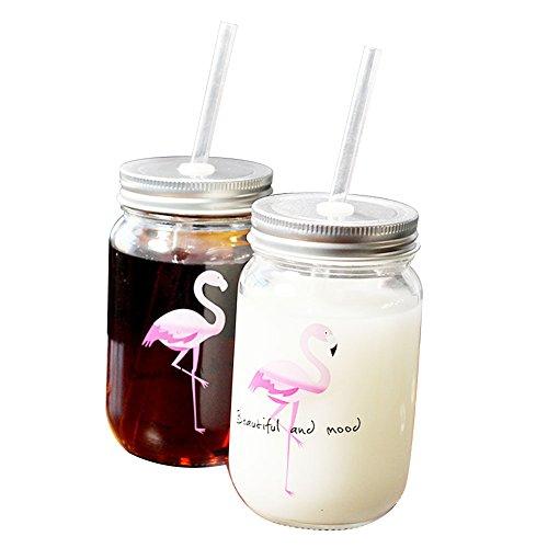 BleuMoo 1Pc Lovely Flamingo Mason Cup with Lid Straw Mason Glass Drinking Jars