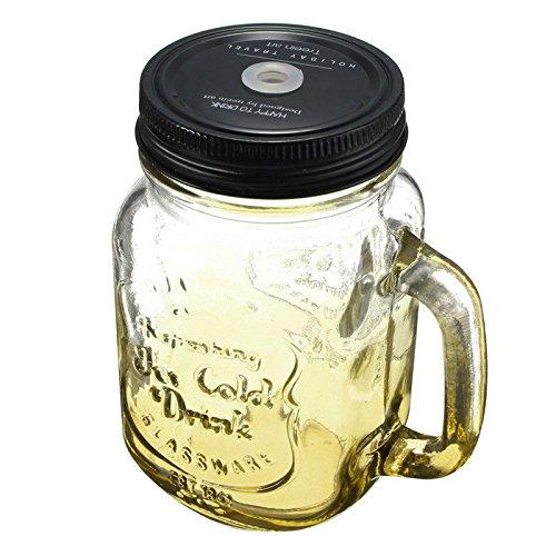 SODIALR Fashionable Vintage Glass Drinking Jar 500ML Retro 17oz Yellow Size 136 79cm