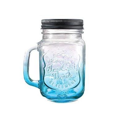 SODIALR Fashionable Vintage Mason Glass Drinking Jar Bottles Cup 500ML17oz Blue
