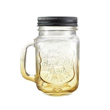 SODIALR Fashionable Vintage Mason Glass Drinking Jar Bottles Cup 500ML17oz Yellow