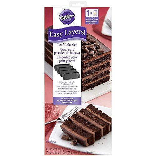 Wilton Easy Layers 4-Piece Birthday Cake Loaf Baking Pan Set - Dishwasher Safe