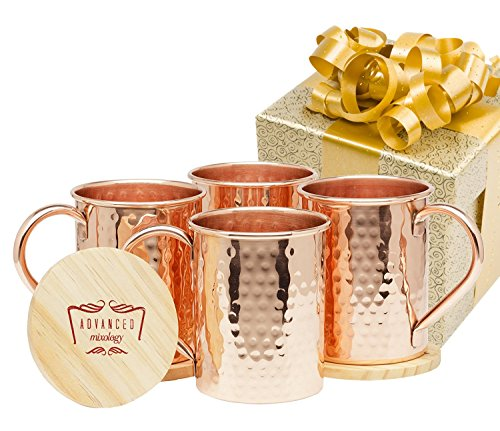 Advanced Mixology Moscow Mule Gift Set 100 Pure Copper 12 Pound Mugs Set of 4- 16 Ounce with 4 Artisan Hand Crafted Wooden Coasters-Classic