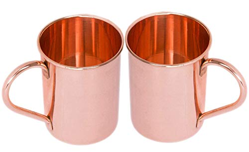 BARREL CRAFTS Classic Solid Copper Moscow Mule Mugs Pure Solid Copper No Lining Smooth Finish 16 oz PACK OF 2