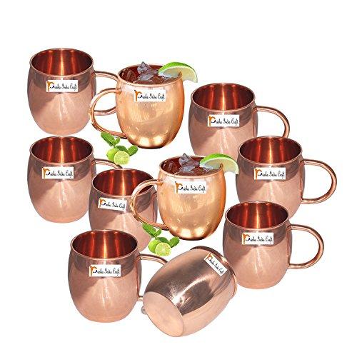 Set of 10 - Prisha India Craft Copper Barrel Mug Classic for Moscow Mule 520 ML  17 oz Pure Copper Mug Copper Mule Cup Moscow Mule Cocktail Cup Copper Mugs Cocktail Mugs