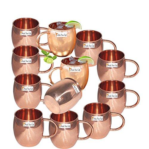 Set of 12 - Prisha India Craft Copper Barrel Mug Classic for Moscow Mule 520 ML  17 oz Pure Copper Mug Copper Mule Cup Moscow Mule Cocktail Cup Copper Mugs Cocktail Mugs