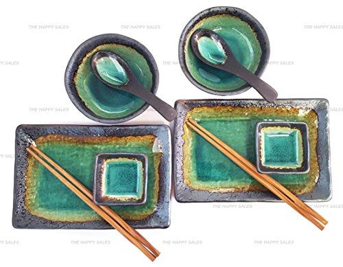 Happy Sales 10 Piece Japanese Sushi Plate Dinnerware Set Turquoise Kosui Green