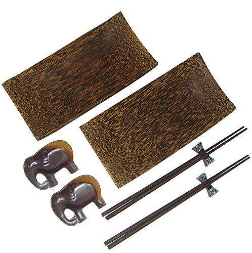 NareeGreen Set of 2 Sushi Plates Natural Palm Wooden