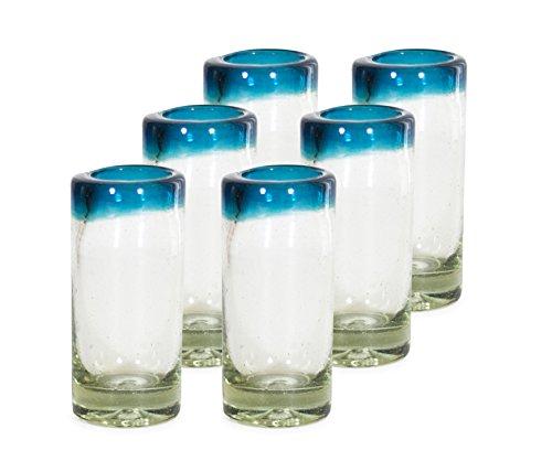 MEXART Artisan Crafted Hand Blown Aqua Marina Rim Recycled Glass Shots Glasses- Whisky Vodka Tequila Shots 2 oz Classic set of 6