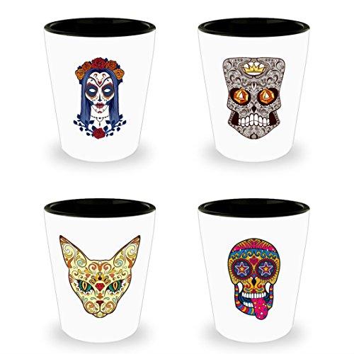 Sugar Skull Shot Glasses Set of 4 - Day of the Dead Tequila Shot Glass - Colorful Dia De Los Muertos Mexican Folk Art - Four Novelty Shotglasses - Ceramic - White
