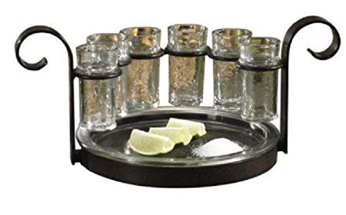 Tequila Shot Glass Serving Tray Set 7 Pieces Unique Barware Gift Ideas for Adukts