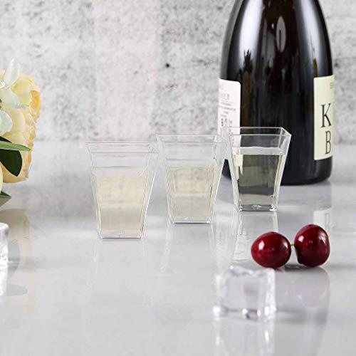 Efavormart 120 Pcs - Clear Super Chic Squared 2oz Disposable Plastic Shot Glass