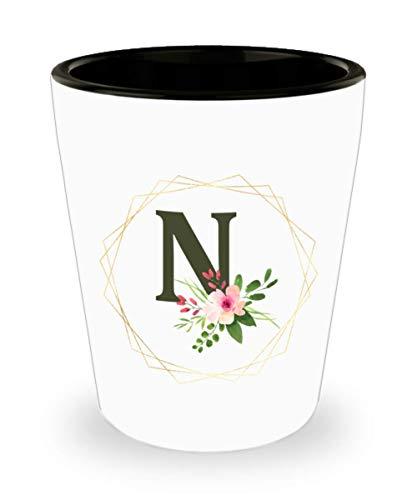 Espresso Shot Glasses Ceramic for Women - Floral Monogram Letter N