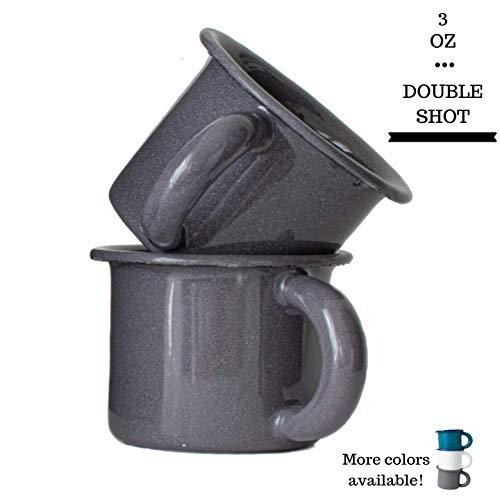Turquoise Espresso Cups Set of 2 Designer Enamel Coffee Mugs Hand-Finished Enamelware Espresso Shot Glasses Montessori Cups