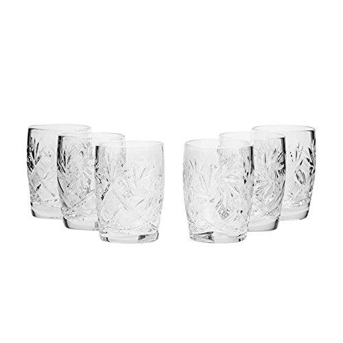 Set of 6 Neman Glassworks 15-Oz Hand Made Vintage Russian Crystal Glasses Whisky Shots Old-fashioned Glassware