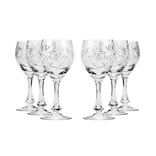 Set of 6 Neman Glassworks 2-Oz Hand Made Vintage Russian Crystal Shot Glasses Vodka glasses on a Stem Old-fashioned Glassware