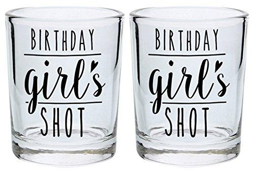Birthday Shot Glass for Women Birthday Girl 21st 30th 40th Birthday Gift Shot Glasses 2-Pack Round Shot Glass Set Black