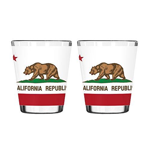 Boelter Brands California State Flag Shot Glass 2-ounce 2-Pack