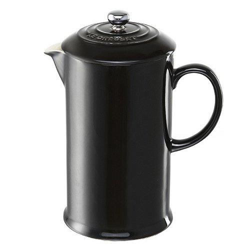 Le Creuset Shiny Black Stoneware French Press Coffee Maker 1 Quart