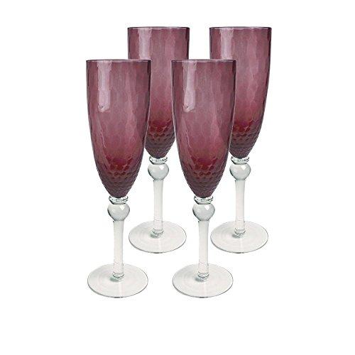 Artland Pebbles Flute Glass Set Of 4 8 oz Purple