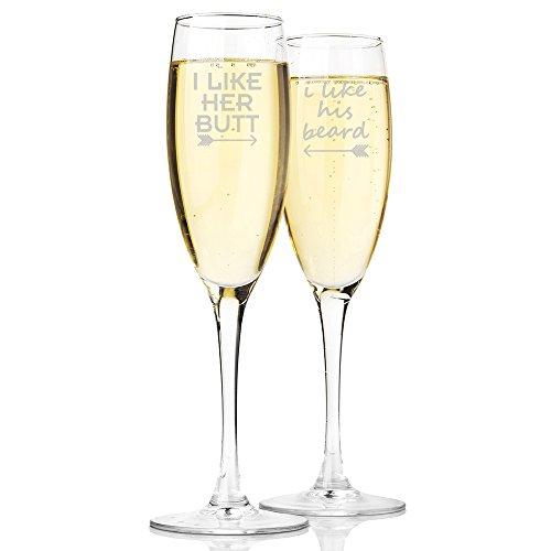 I like Her Butt and I Like His Beard Champagne Toasting Flute Glasses Set of 2