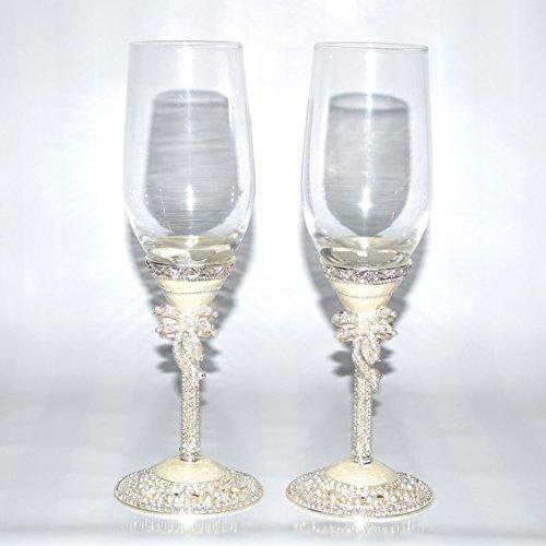 Wedding Toasting 2-piece Champagne Flute Glasses Set Pearl White Italian