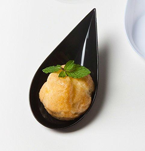 Black Plastic Mini Tear Drop Appetizer Spoon  Tasting Spoons  Tasting Dish 200pc