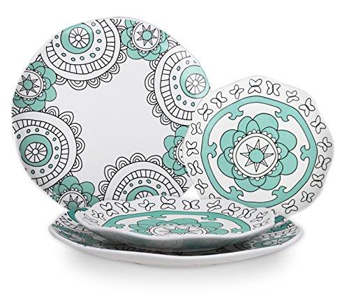 Dinner Plates Appetizer Salad Plate Set 4 Porcelain Mint Blue Floral Pattern Christmas Gift
