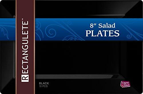 Rectangulete 10 Rectangle Black Salad - Appetizer Party Plates Disposable Hard Plastic Elegant Party Plates 10 Black Appetizer - Salad Plates Per Package