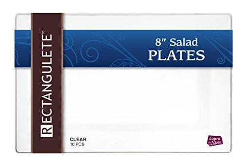 Rectangulete 10 Rectangle Clear Salad - Appetizer Plates Disposable Hard Plastic Elegant Party Plates 10 Party Appetizer - Salad Plates Per Package Pack of 2