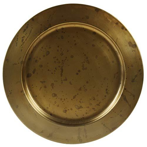 Koyal Wholesale Aged Gold Brass Bulk Metal Charger Plates Set of 4 Vintage Service Plates for Wedding Reception Bridal Shower Antique Table Settings Decor