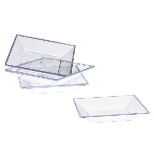 Exquisite Plastic Mini Square Appetizer Plates - 100 Ct Square plastic Dessert Plates - 295 Inch x 295 Inch Clear