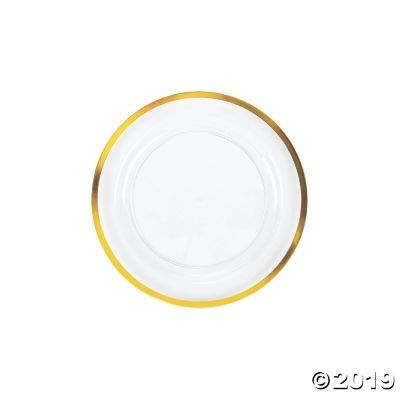 PREMIUM CLEAR DESSERT PLATE WGOLD TRIM - Party Supplies - 25 Pieces