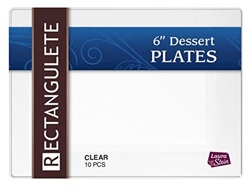 Rectangulete 75 Rectangle Clear Dessert Plates Disposable Hard Plastic Elegant Party Plates 10 Party Dessert Plates Per Package Pack of 2