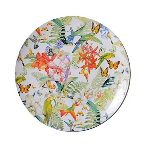 SHINING Porcelain Dinnerware Sets Bird Flower Creative Bird Flower Patterns Kitchen Dinner Soup Plate Sets 10 Plate