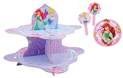 Disney Princess Cupcake Toppers Baking Cups Cupcake Stand Set